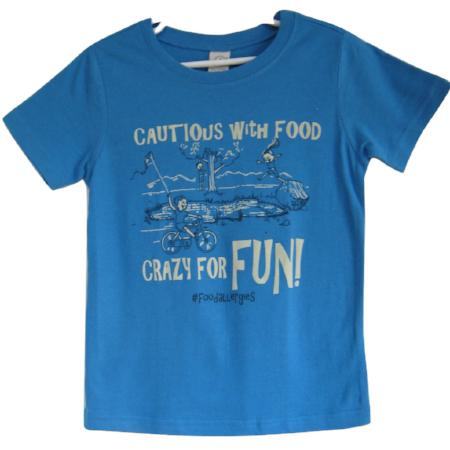 blue children's food allergies awareness tee