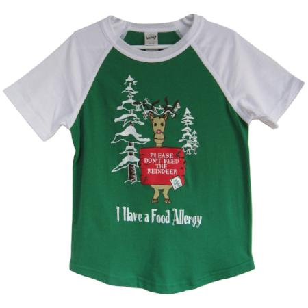 Children's Christmas food allergy awareness baseball tee