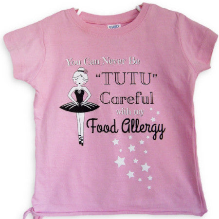 pink food allergy ballerina tee