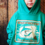 Kelly Green Fleece Hoodie with Food Allergy Alert Shark Graphic 2T