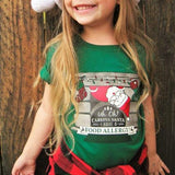 child wearing food allergy awareness santa claus graphic