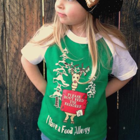 Child in Christmas reindeer food allergy awareness tee