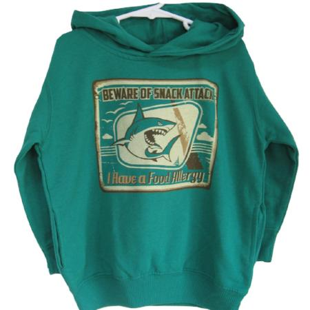 green fleece food allergy awareness hoodie for children