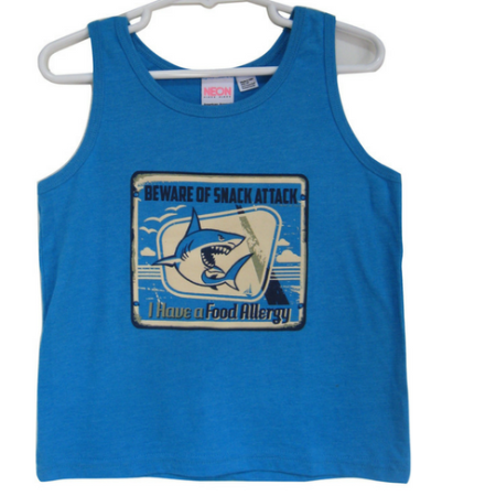 Warehouse Collection Blue Food Allergy Alert Shark Graphic Tank