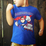 Blue Superhero Graphic Tee For Children with Food Allergies