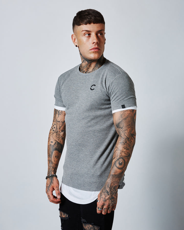 KIMITSU DARK GREY MARL/OPTIC WHITE TEE