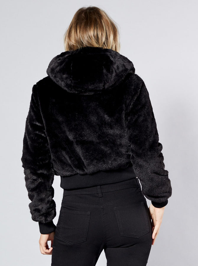 Hokata Womens Faux Fur Jacket Black