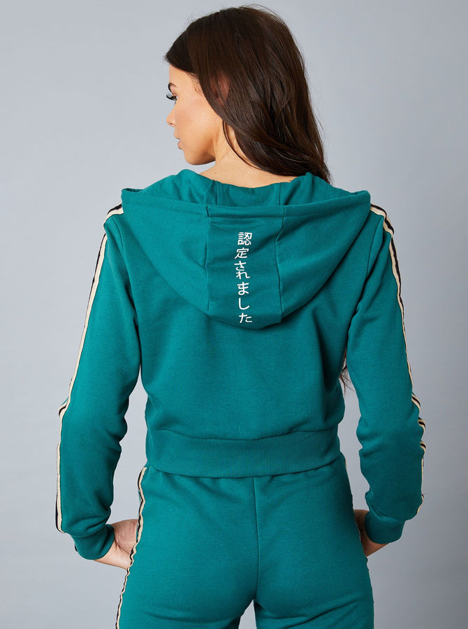 Katano Womens 1/2 Zip Crop Hoody Dark Green