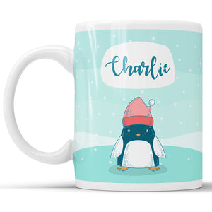 Custom Name Penguin Mug For Kids