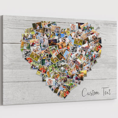 100 Pictures Family Photo Heart Collage Canvas