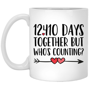 34th Anniversary 11 oz. White Mug