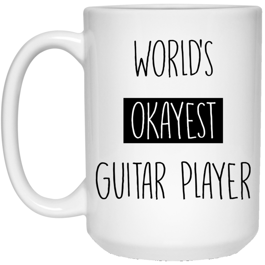 Worlds Okayest Guitar Player 15 oz. White Mug