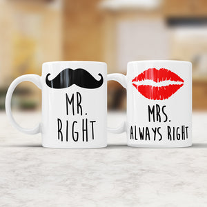 Mr. And Mrs. Right Mugs Set