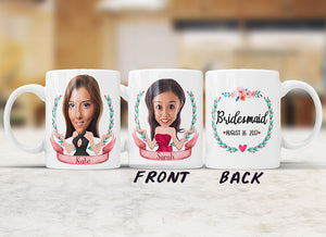 Personalized Bridesmaid Caricature Mug