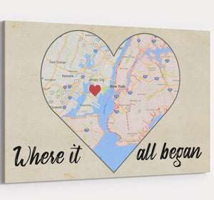 Where It All Began Map - Personalized Wedding & Anniversary Canvas Wall Art