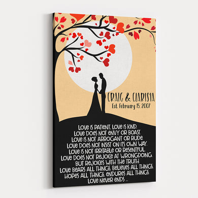 Love Tree - Personalized Wedding & Anniversary Canvas Wall Art
