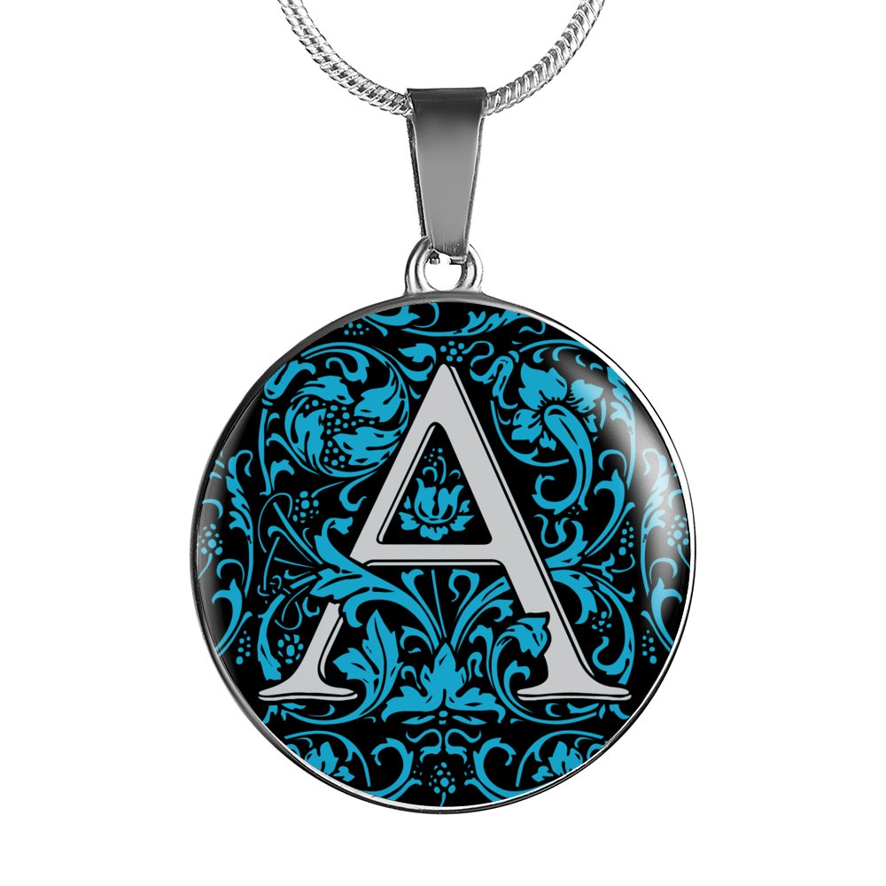 A Letter - Initial Necklace Blue
