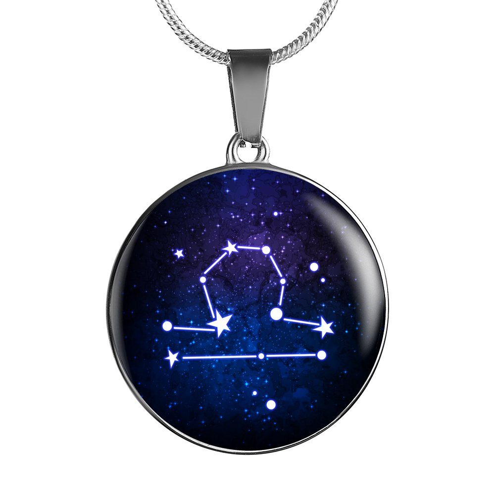 LIBRA Zodiac Sign - Luxury Necklace With Adjustable Snake Chain