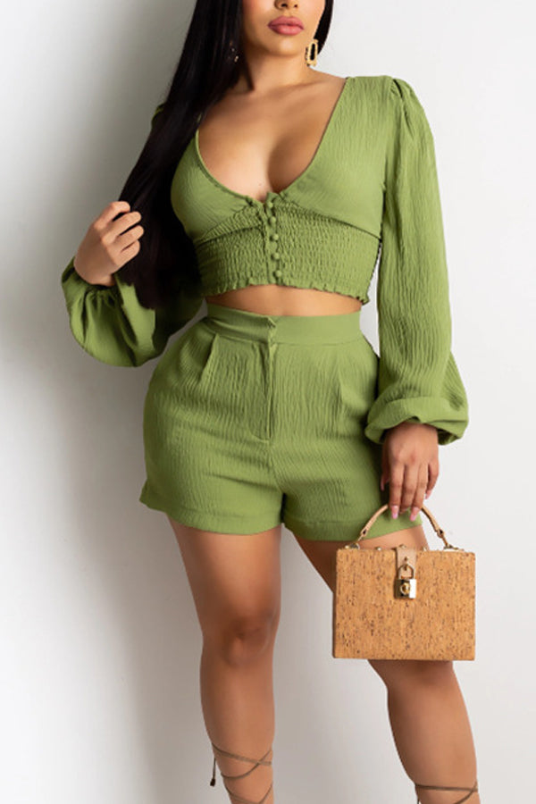 Sexy Deep V-neck Puff Sleeve Two-piece Set