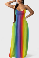 Rainbow Tie Dye Bohemia Maxi Dress