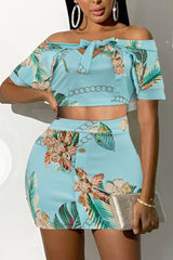 Strapless Bow-knot Print Two-piece Set