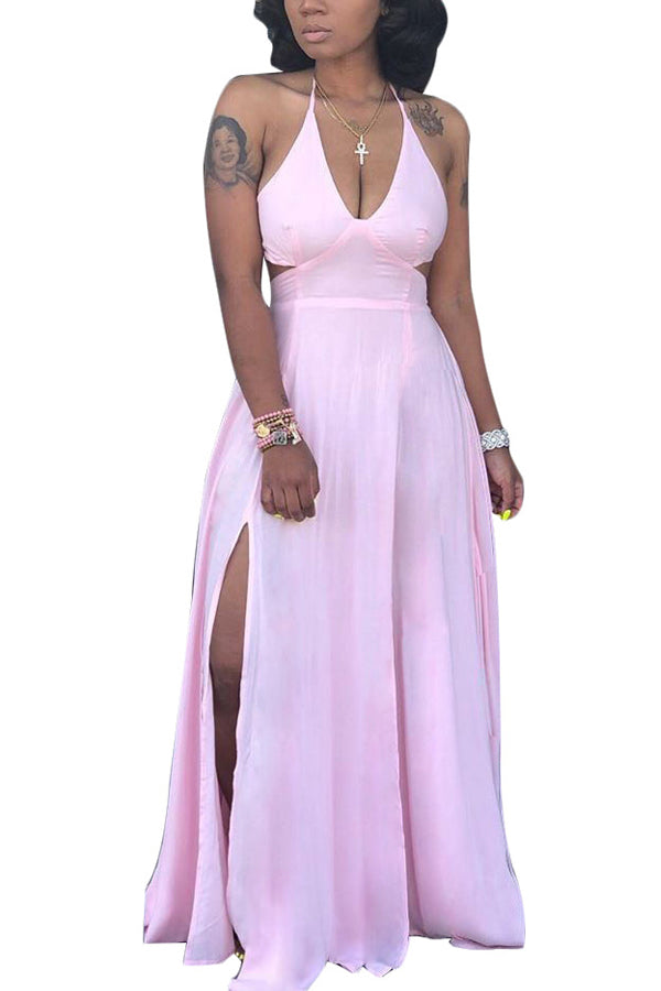 Sexy Solid Color Sling Slim Fit Maxi Dress