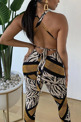 Sexy Strap Chest Wrap Print Rompers