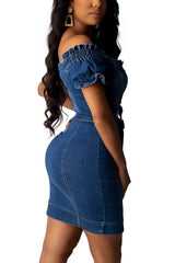 Fashion Sexy Boat Neck Denim Dress