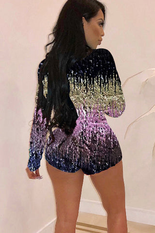 Sexy Fashion Long Sleeve Sequin Jumpsuit