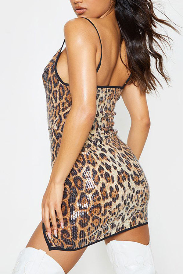 Fashion Sexy Leopard Print Beads Dress