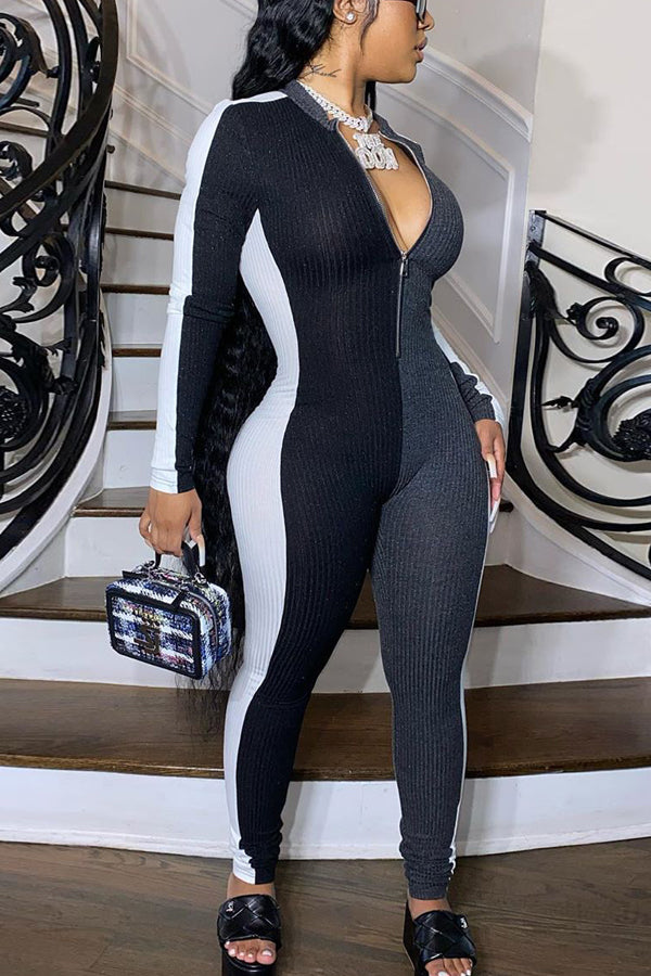 Sexy Slim Zipper Splicing Jumpsuit