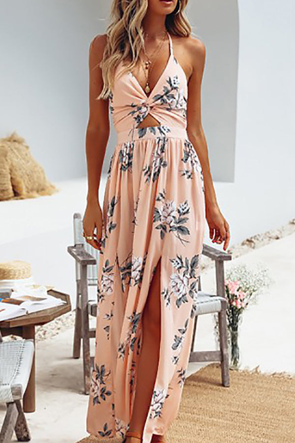 Sexy Sling V-neck Chiffon Printed Dress
