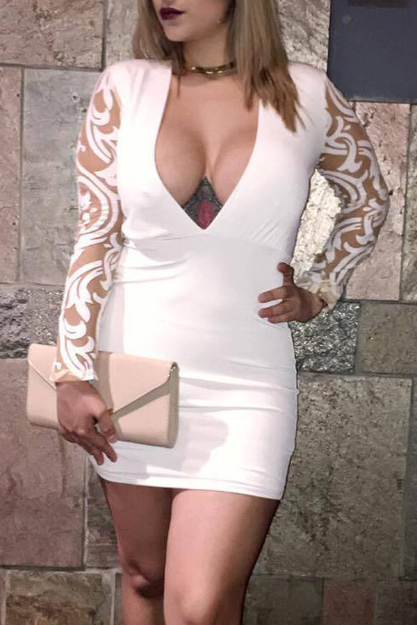 Fashion Sexy Deep V-neck Mesh Embroidered Dress
