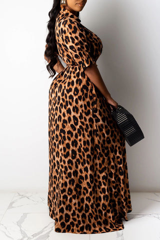 Sexy Leopard Print Tie Waist Plus Size Dress