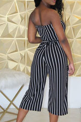 Stripe Print Sleeveless Tie Waist Jumpsuit