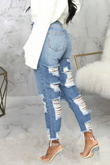 Fashion Broken Hole Straight Jeans