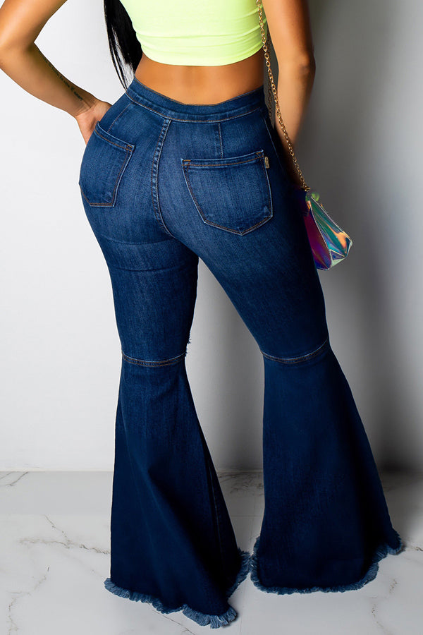 Fashion Broken Hole Horn Jeans