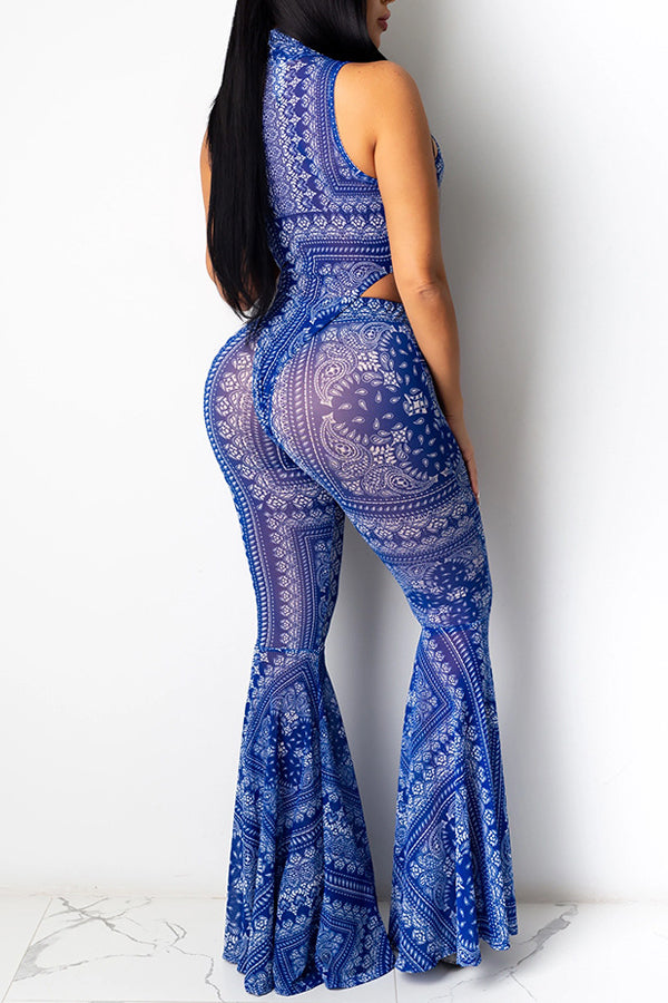 Sexy Mesh Print Sleeveless Two-piece Set