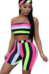 Fashion Sexy Color Stripe Print Two-piece Set