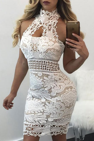 Modishshe Lace Splicing Bodycon Party Dress