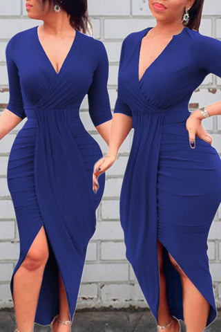 Modishshe Half Sleeves Front Slit Dress