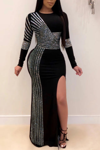 Party Patchwork Slit Side Sequined Maxi Dress