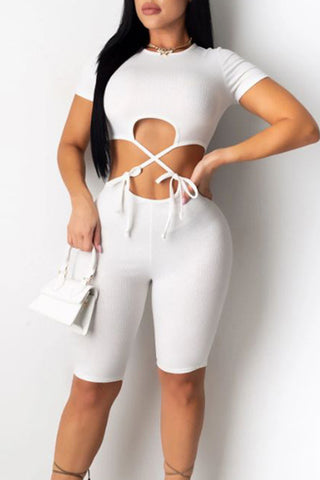 Sexy Solid Color Short Sleeve Jumpsuit