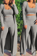 Solid Color Casual Long Sleeve Two Piece Set