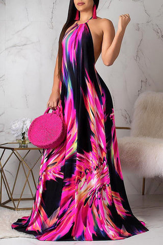 Fashion Print Lacing Maxi Dress