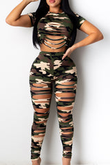 Sexy Broken Hole Camouflage Two-piece Set