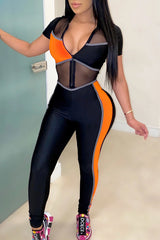 Sexy Color Block Mesh Slim Jumpsuit