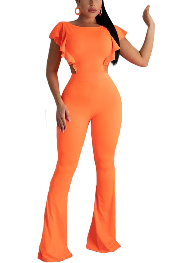 Fashion Sexy Solid Color Trumpet Jumpsuit