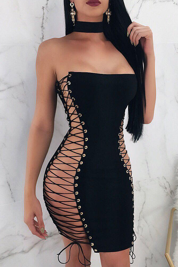 Sexy Double Lacing Wrapped Chest Dress