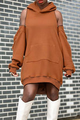 Solid Color Hooded Strapless Sleeve Tops
